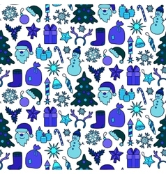 Christmas Blue Patch Seamless Pattern vector image vector image