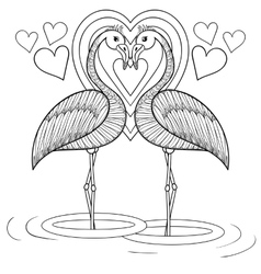 Coloring page with Flamingo in love zentangle vector image vector image