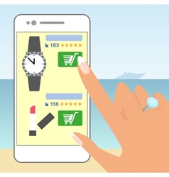 Female hand is holding smartphone and doing online vector image