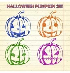 Halloween pumpkin sketches set vector image