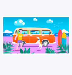 summer timesurf van on the beachsummer holiday vector image