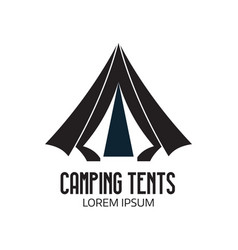 tourist camp logo or tent icon vector image vector image