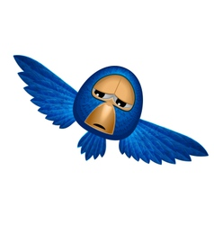 Angry beholder blue bird soars and observe looks vector