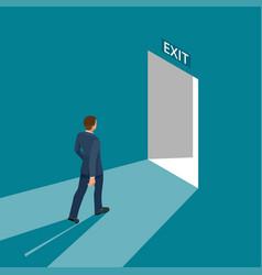 businessman going exit door sign emergency vector image vector image