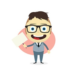 businessman holding blank sign vector image