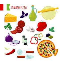 cartoon italian pizza ingredients set vector image vector image