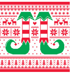 christmas seamless pattern with elf and reindeer vector image vector image