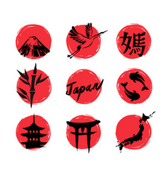 sketch japan icons vector image vector image