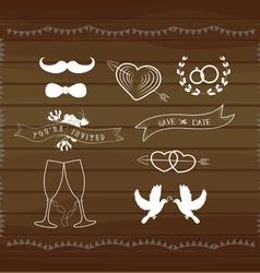 Vintage wedding elements vector image vector image