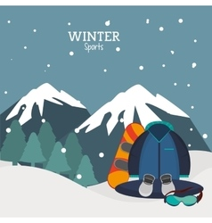 winter sport equipment and mountains landscape vector image