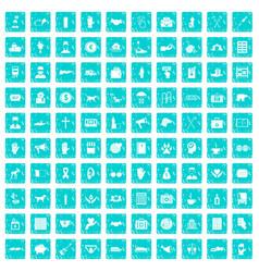 100 donation icons set grunge blue vector