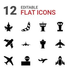 12 flight icons vector
