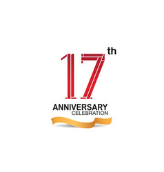 17 anniversary celebration logotype with red vector