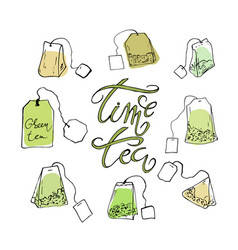 a set of tea bags and lettering vector image