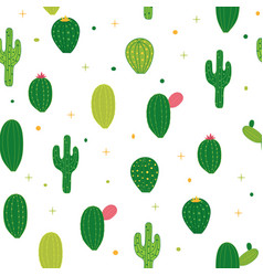 abstract seamless pattern background with cactus vector image