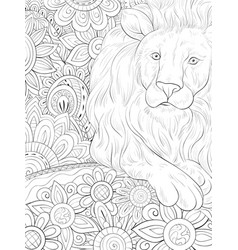 Adult coloring bookpage a cute lion vector
