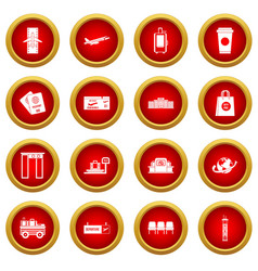Airport icon red circle set vector