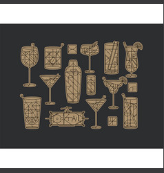 Art deco cocktails set dark gold vector