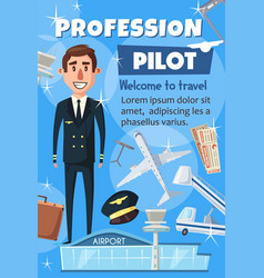 Aviation pilot profession airport staff vector