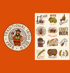 bavarian beer man and vintage badges set of vector image