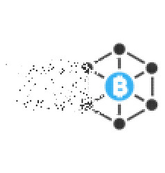 Bitcoin finance netwok disappearing pixel icon vector