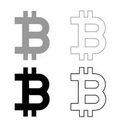 bitcoin icon set grey black color vector image