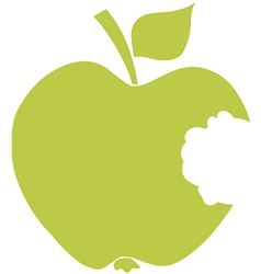 Bitten Apple Green Silhouette vector image