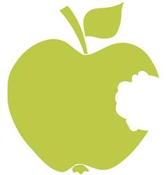 Bitten Apple Green Silhouette vector