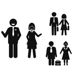 Businessman and businesswoman pictogram vector