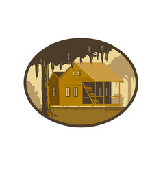 Cajun house and tree oval wpa retro vector