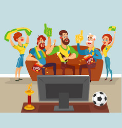 cartoon family watching a football match on tv vector image