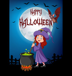 Cartoon little witch preparing potion with hallowe vector