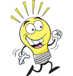 Cartoon running light bulb vector image