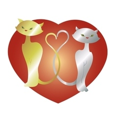 Cats in love with heart EPS10 vector image