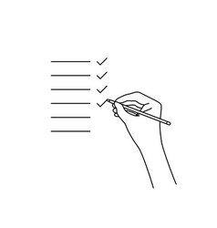 check list inspection with linear hand vector image