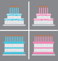 collection birthday cake icons vector image