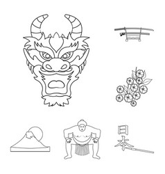 country japan outline icons in set collection for vector image