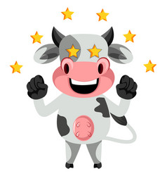 cow with stars on white background vector image