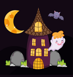 cute ghost bat house halloween vector image