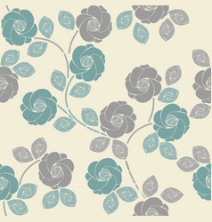 Cute seamless pattern with tender roses and leaves vector