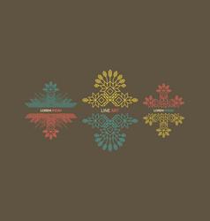 decorative element in retro style line art design vector image