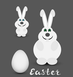 easter rabbits and egg vector image