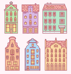europe house and apartments set cute vector image