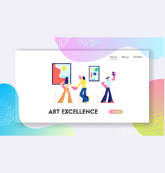 exhibition visitors view modern abstract paintings vector image