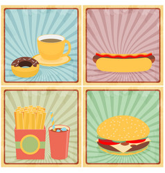 Fast junk food icons flat set on retro background vector