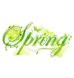 floral spring text vector image
