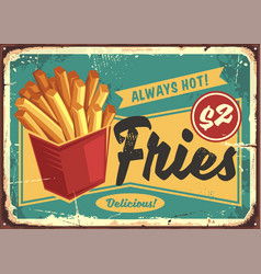 french fries in red box vintage fast food sign vector image