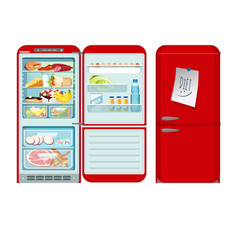 fridge opened and closed red refrigerator with vector image