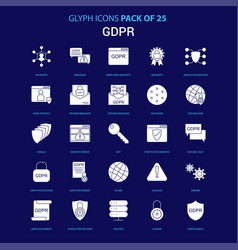 Gdpr white icon over blue background 25 icon pack vector