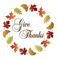 Give thanks wreath with gradient leaf frame vector